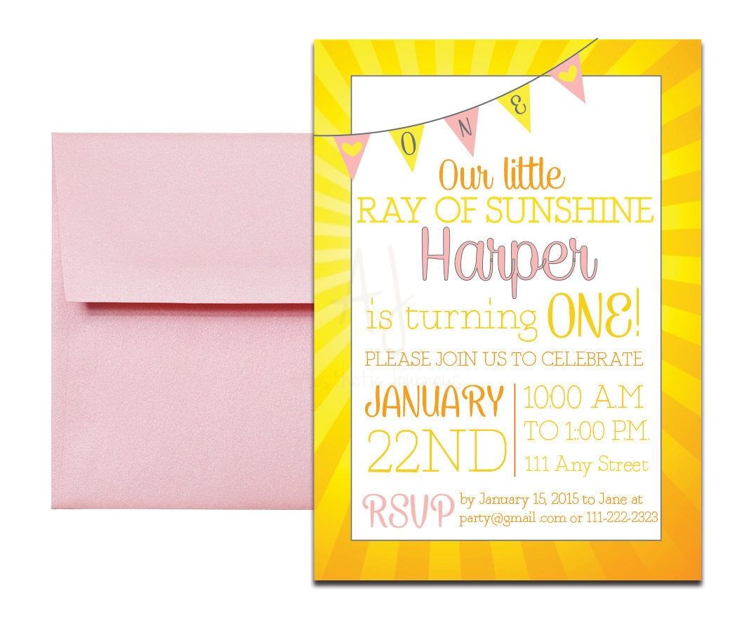 yellow sunshine themed party invite envelopes