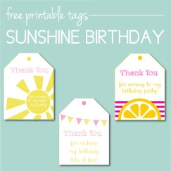 Free printable sunshine birthday party tags