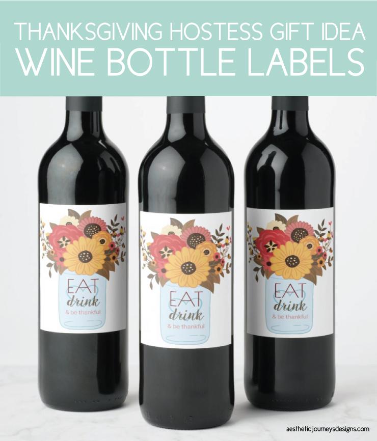 thanksgiving wine bottle labels