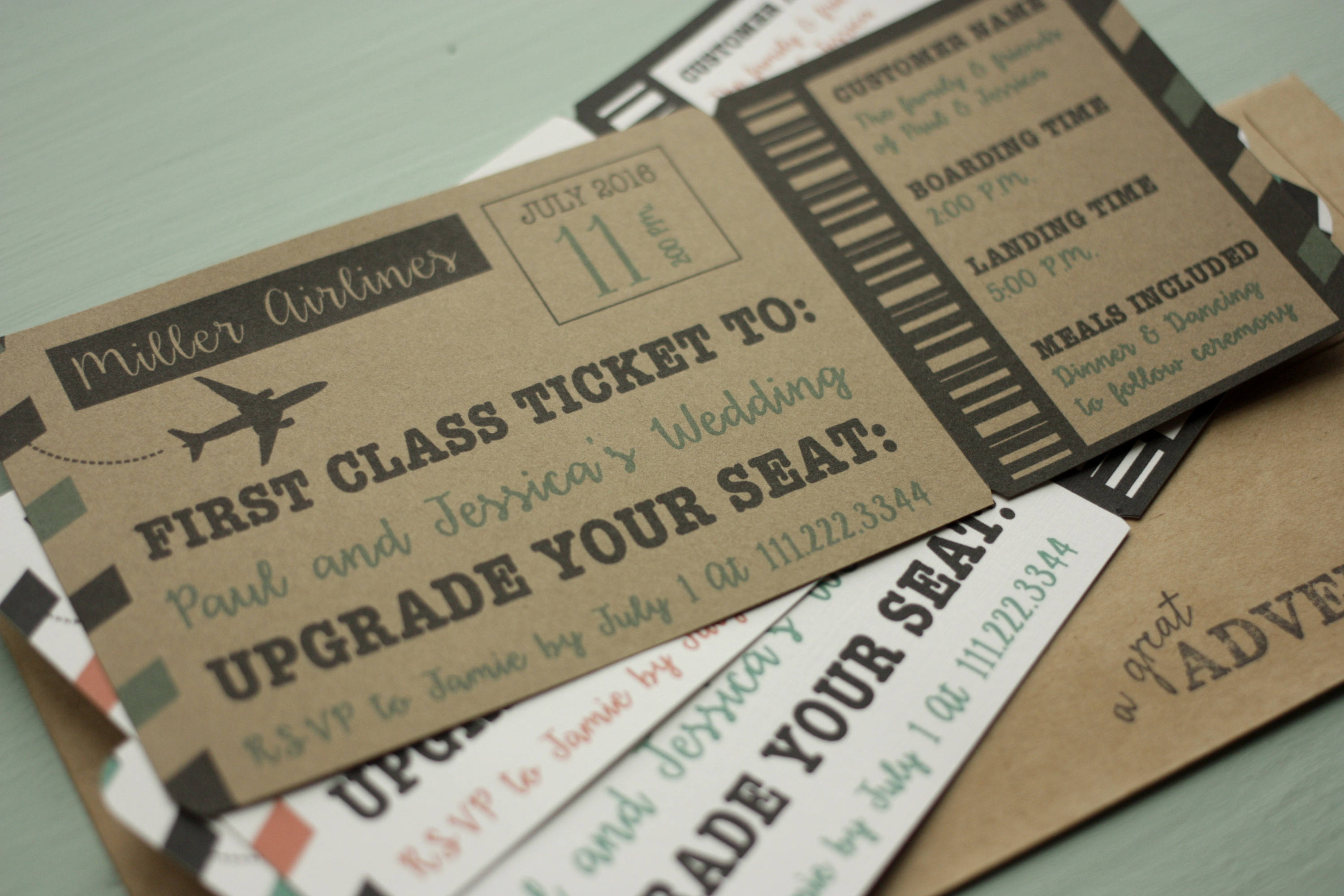 Ticket Shaped Wedding Invite + Envelopes -