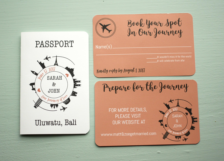 Travel Themed Wedding Invite + Envelopes -