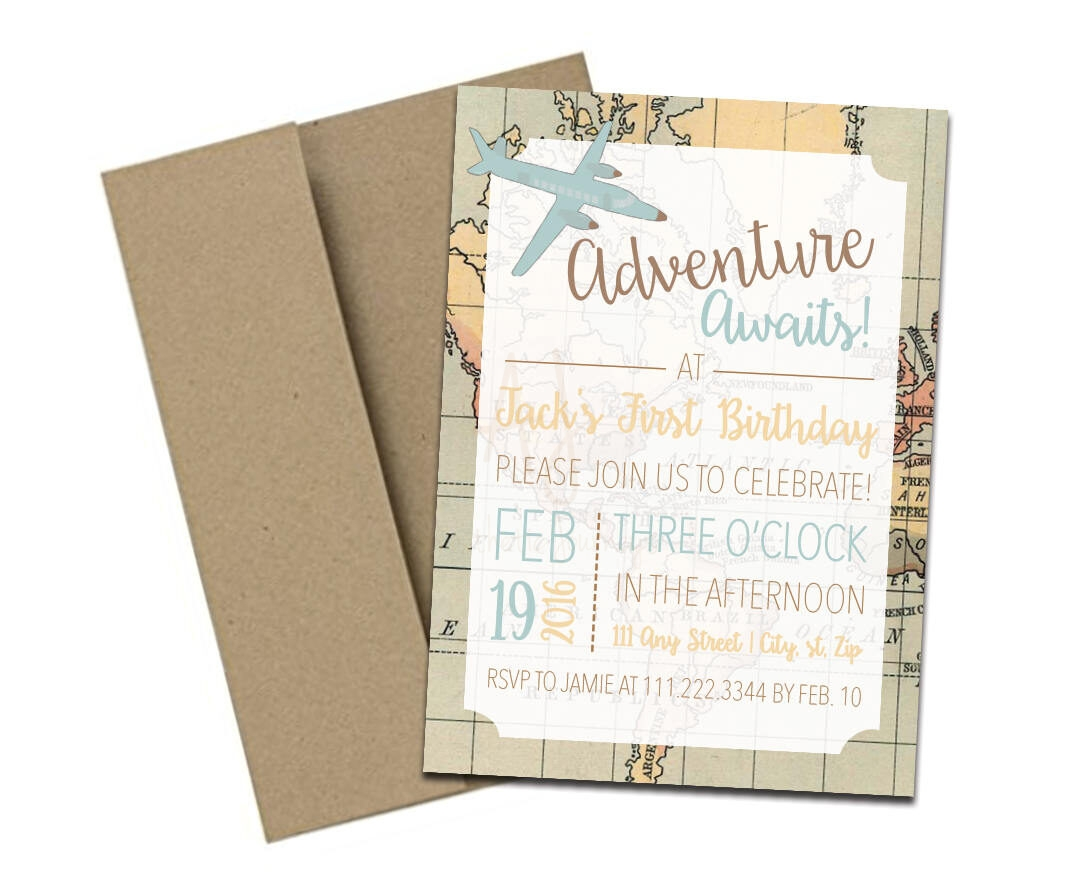 Travel Themed Party Invite with Map + Envelopes -