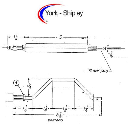 138642 Flame Rod for York Shipley FV-20 gas burners