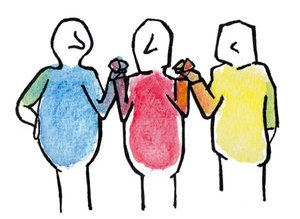 revue aether æther méditation épistémologie anthroposophie médecine anthroposophique biodynamie école steiner waldorf trois bonhommes bleu rouge jaune se tenant les mains