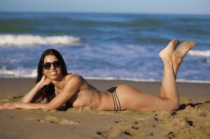 Bikini sunbathing