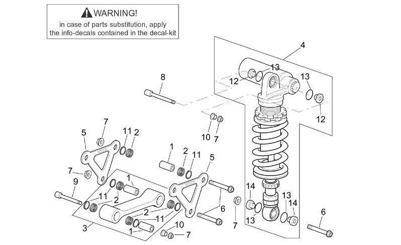 AF1 Racing. 2001-2002 Mille Rear Shock Assembly