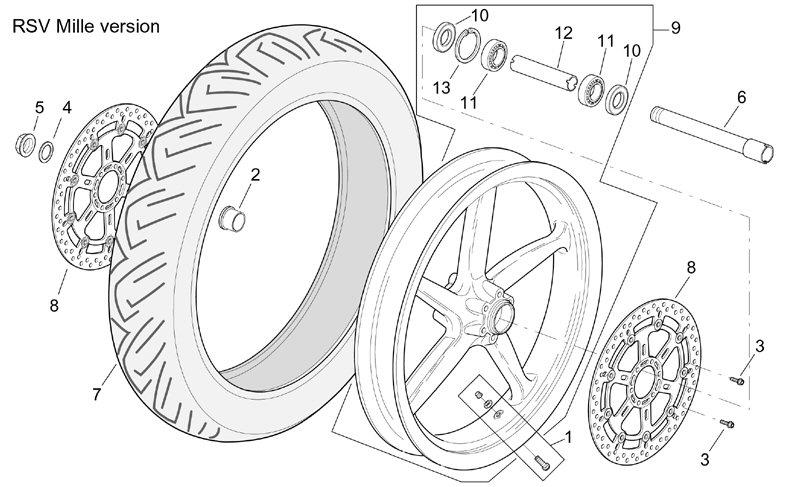 AF1 Racing. 2001-2002 Mille Front Wheel- Mille Version