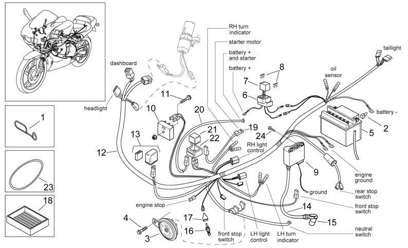 50cc Scooter Ignition Wiring Diagram Af1 Racing Aprilia Vespa Piaggio Guzzi Norton