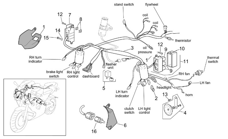 starter switch wiring diagram ceiling fan with light af1 racing aprilia | vespa piaggio guzzi norton ural zero