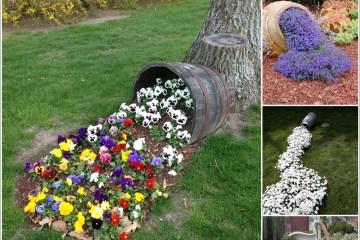 15 id es cr atives de parterres de fleurs d vers es pour faire un d cor de jardin original for Idee salon de jardin original