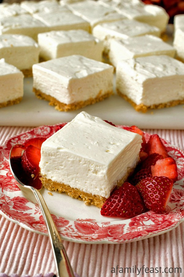 NoBake Greek Yogurt Cheesecake Squares A Family Feast