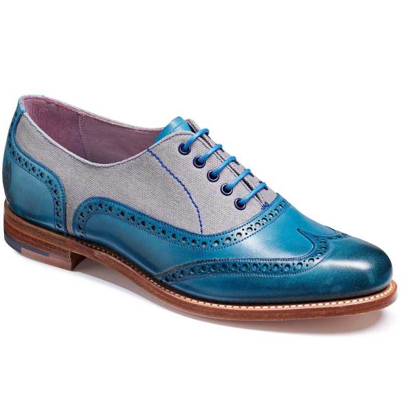Barker Ali Shoes - Ladies Brogue Blue Hand Painted