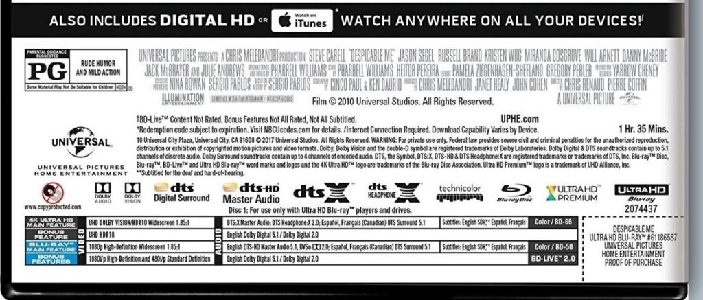 Dolby Vision al debutto su Blu-ray Ultra HD con Cattivissimo Me