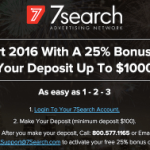 7Search – 25% Deposit Bonus – Expires January 24, 2016