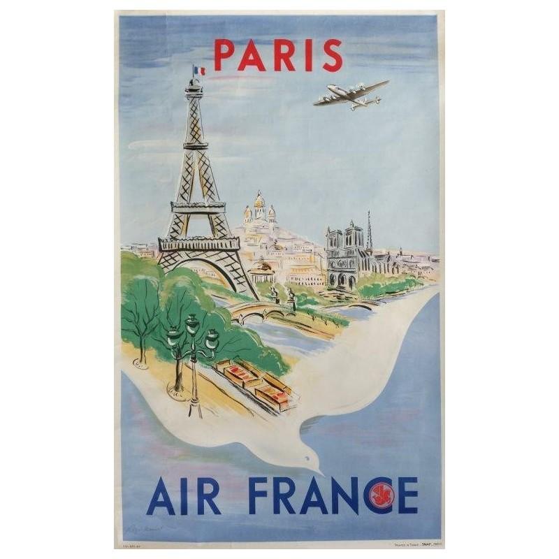original vintage poster air france paris regis manset ref 170 p 11 47
