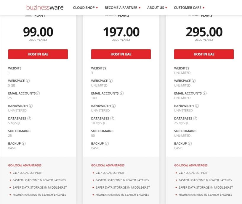 buzinessware plans- Best Web Hosting Providers In Dubai UAE