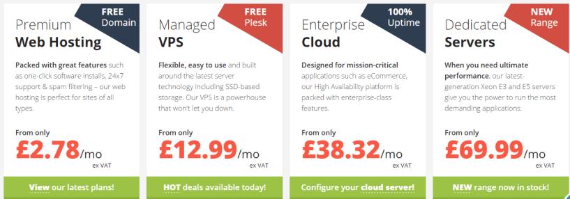 EUKhost pricing plans- BestWeb Hosting Providers In UK