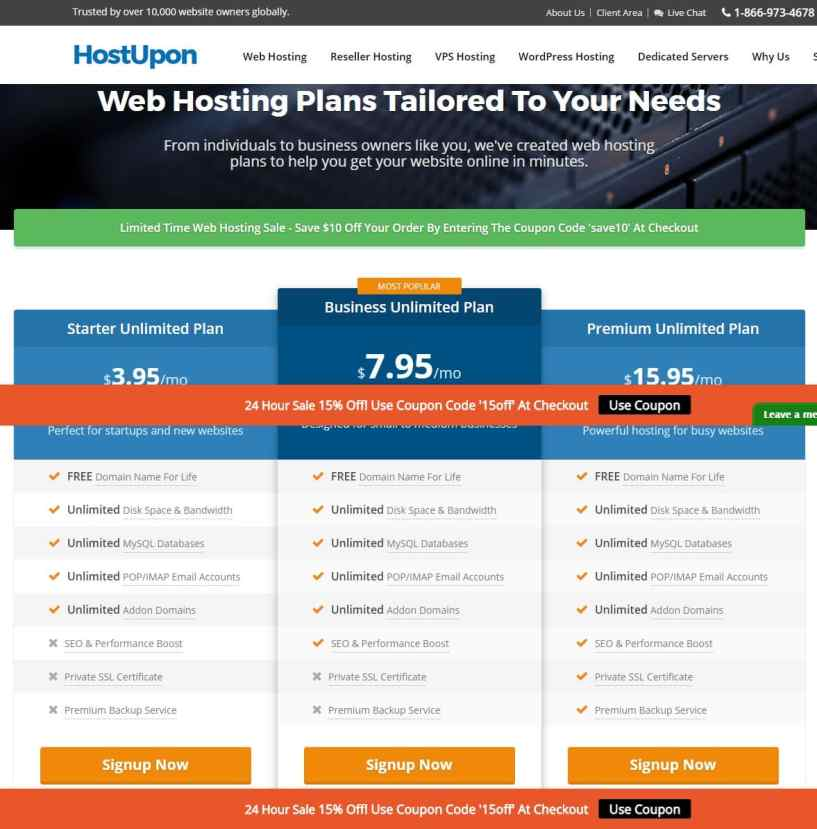 hostupon plans- Web Hosting Providers In Canada/Toronto