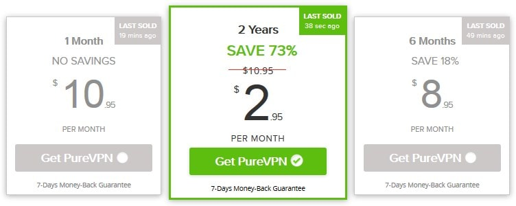 Top VPN for china - PureVPN pricing