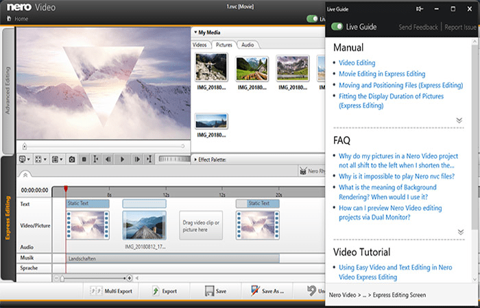 Nero editing tool features and tools