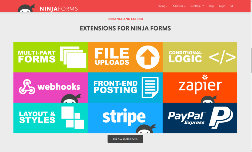 Ninja forms add-ons Extensibility Of Ninja Forms