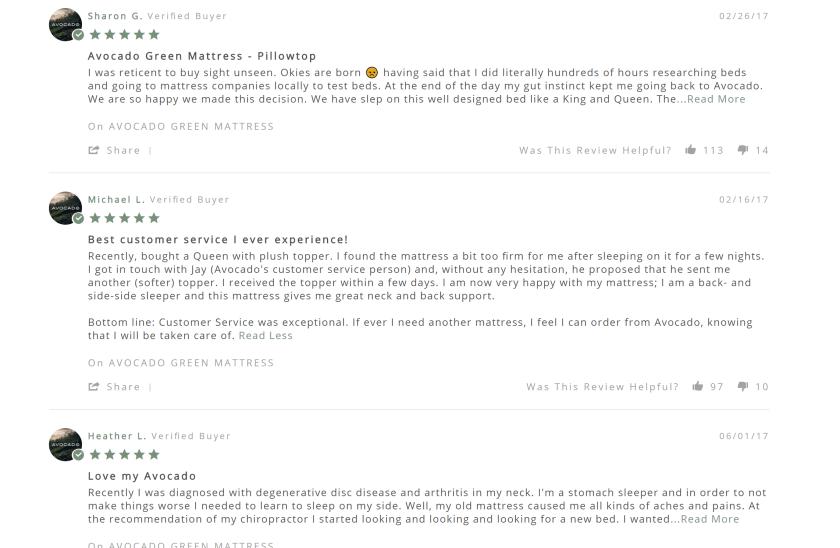 avocado mattress reviews