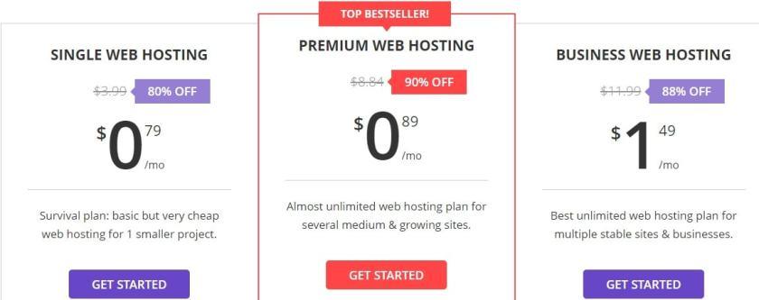 Hostinger Pricing Plans - Premium web hosting