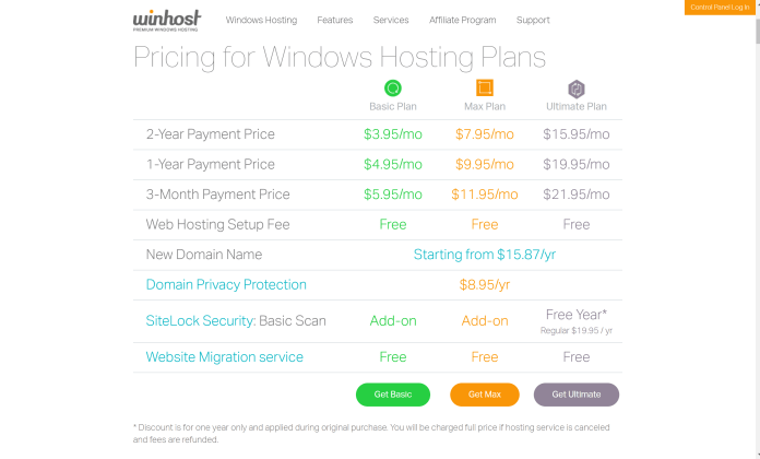 WinHost window hosting coupon codes - pricing