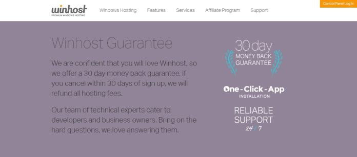 winhost guarantee - 30 days money back