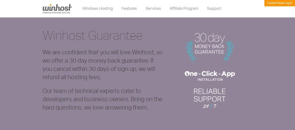 winhost guarantee - 30 days money back