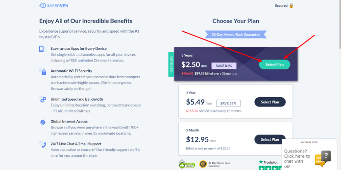 SaferVPN pricing plans and disount
