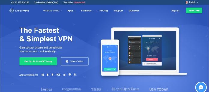 Fastest and Simple VPN: SaferVPN