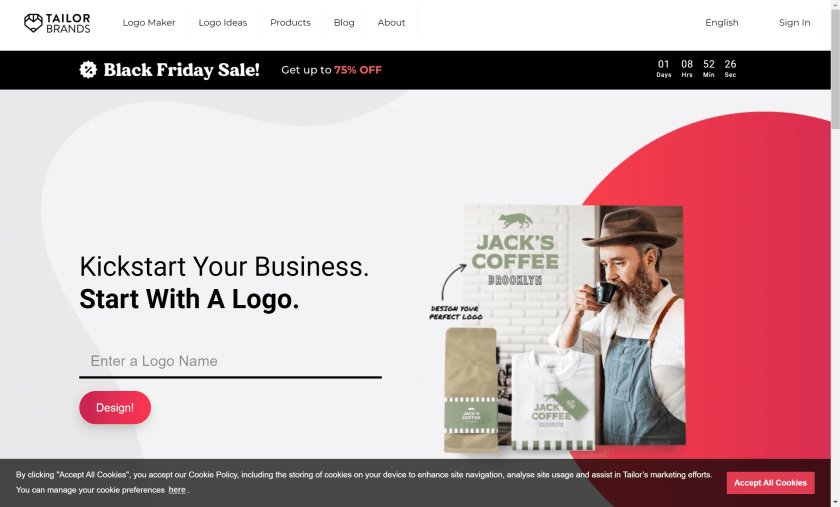 Tailor Brands homepage logo- Tailor Brands Review