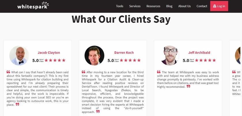 Whitespark tool customer reviews