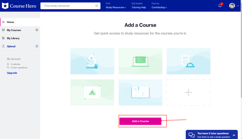 Course Hero dashboard and discounts