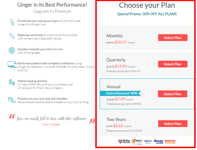 Ginger Software Coupon & Review- Pricing & Discount Offers