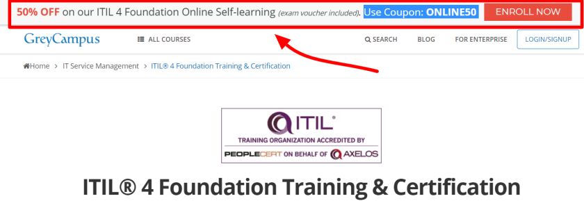 GreyCampus Review With Discount Coupon Codes- ITIL Foundation Certification Training