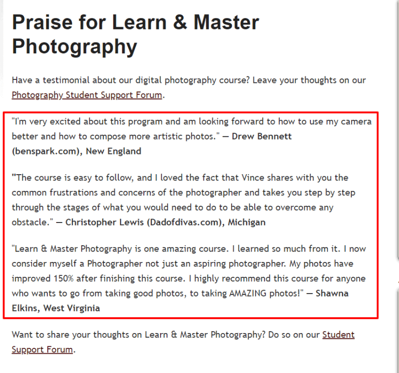 Learn & Master Courses Coupon Codes- Master Photography Testimonials