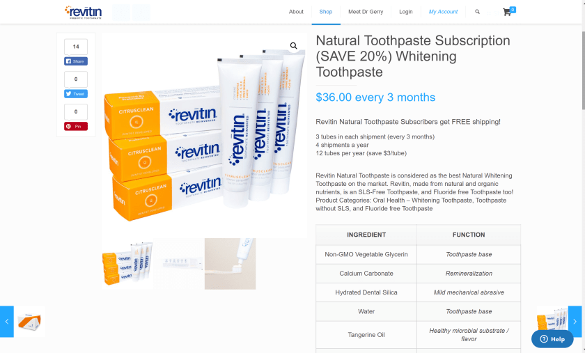 Revitin toothpaste subscription- save 20%