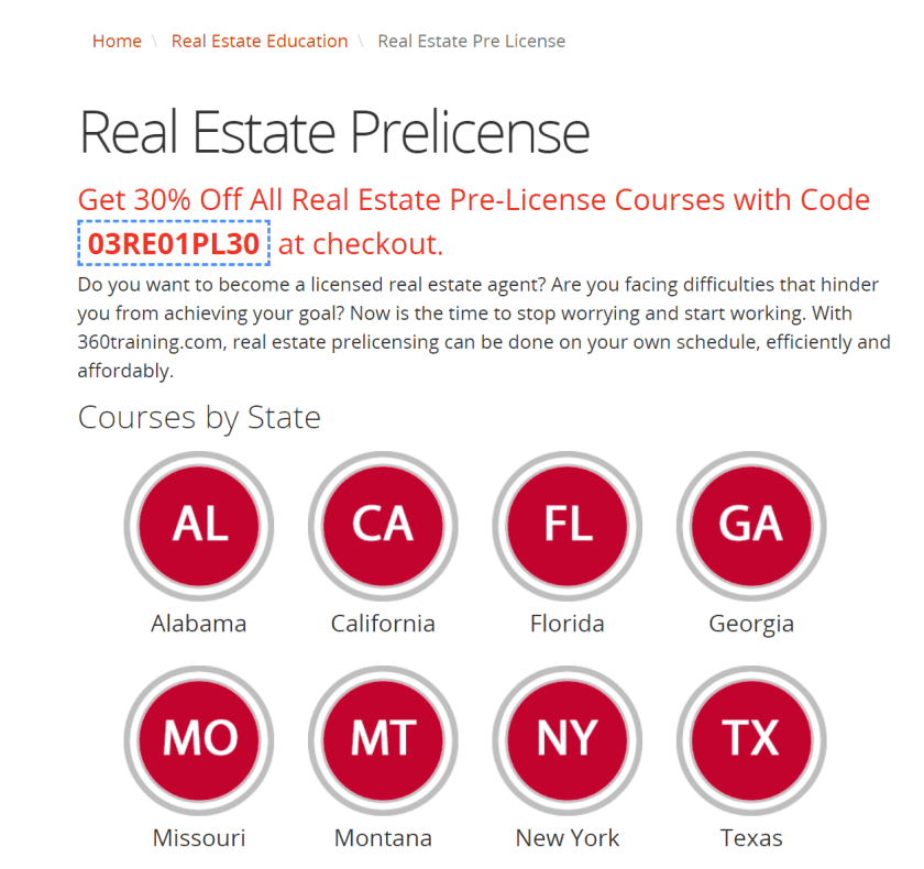 360training pre licensing real estate