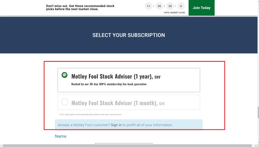 Motley fool stock advisor subscription