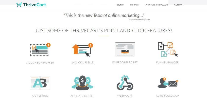 Thrivecart vs WooCommerce - Thrivecart Features