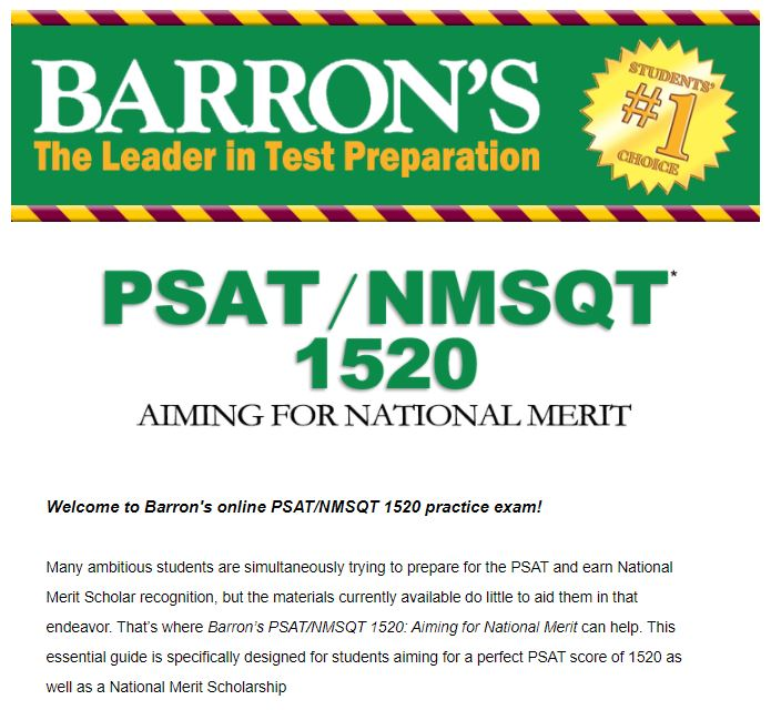 Barron 1520 Aiming for National Merit