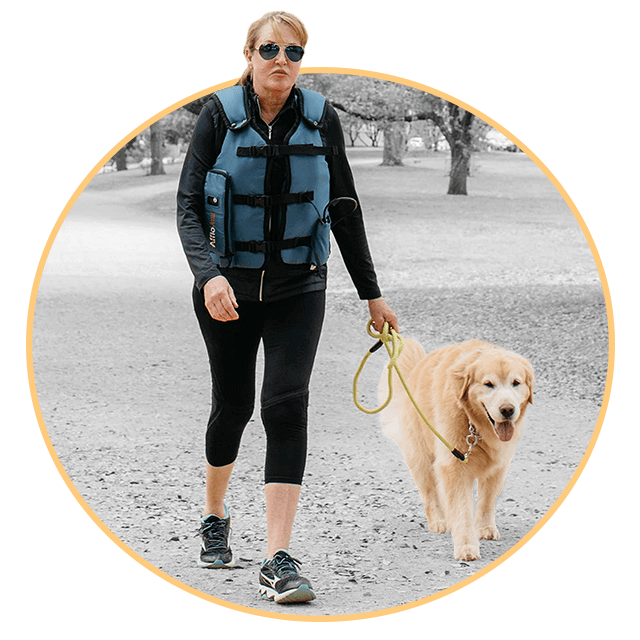 Wearing your Afflovest while walking dog
