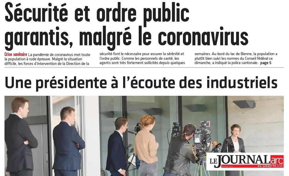 Mme Simonetta Sommaruga en visite dans les entreprises du Jura bernois | Corona Virus - Journal du Jura