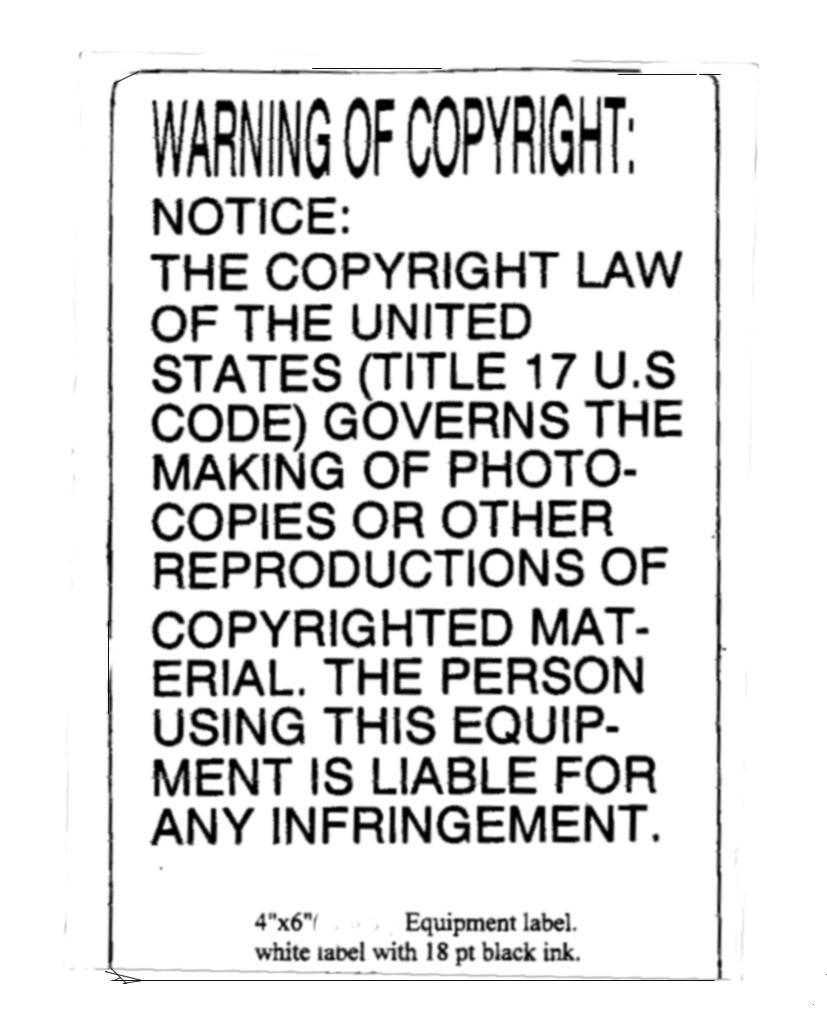 Copyright warning labels. 4