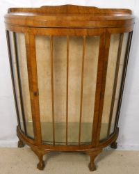 Glass Front Walnut China Display Cabinet