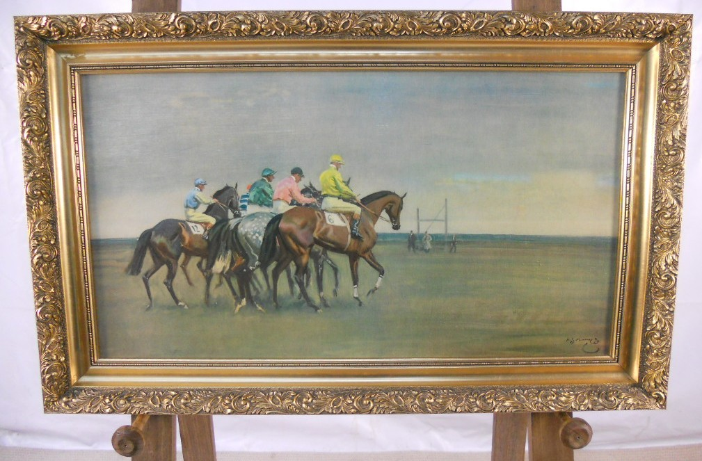 affordable upholstered dining chairs lumbar support office chair cushion racehorses - copy of munnings in gilt frame
