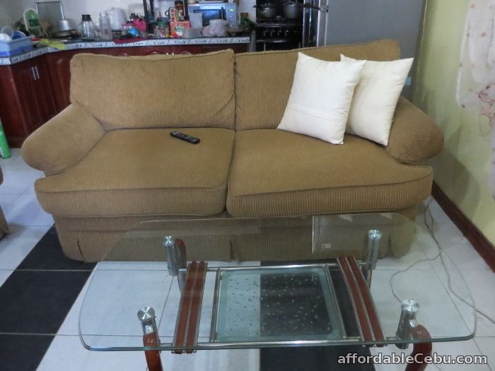 Corduroy Sofa set with center and corner table For Sale