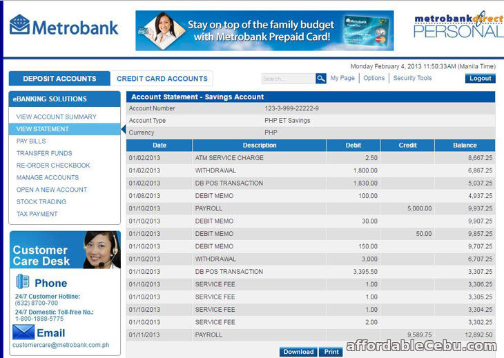 How To Get Metrobank Statement Of Account Online Banking 30423